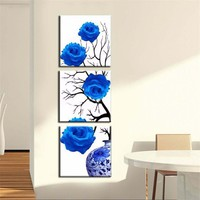 Canvas Modular Paintings Home Decor HD Prints 3 Pieces Blue Roses Poster Blue Enchantress Flower Pictures Living Room Wall Art