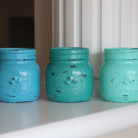 Mason Jars, Beach Mason Jars, Ombre Mason Jars, Beach Decor, Ocean Decor, Washroom Decor, Bathroom Decor, Gift Set, Distressed Jars, Gifts