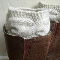 Handknit Leg Warmers - Cream Boot Cuffs - Cable knit boot toppers - Winter accessory - Winter fashion 2014 - mint blue