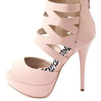 Caged Ankle Cuff Peep Toe Platform Heels by Charlotte Russe - Blush