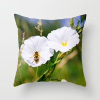 Wasp On A Flower Throw Pillow by Pati Designs