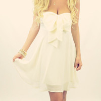 Camelot Ivory Bow Top Chiffon Dress