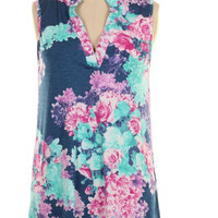 Blue Floral Sleeveless Top