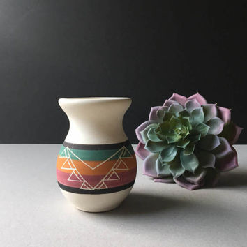 Mexico Pottery Vase, Hand Painted, Etched Design, Vintage Mexican Ceramic, Mid Century, Boho Home, Bohemian Decor, Planter, Air Plant Holder