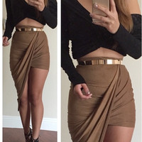 Suede Twisted Unbalanced Skirt (more colors)
