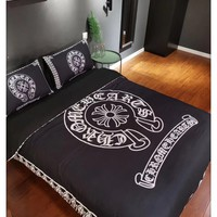 Home Decor Chrome Hearts Blanket Quilt coverlet Pillow shams 4 PC Bedding SET