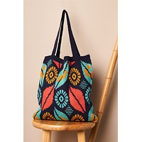 Navy Abstract Leaf Pattern Knit Boho Tote Bag