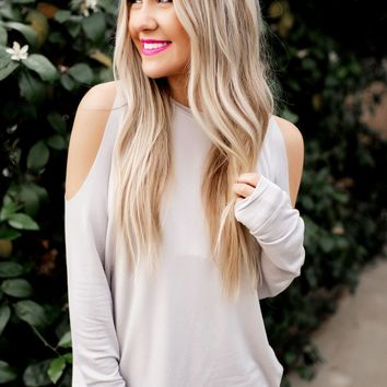 Time To Spare Cold Shoulder Top (Cloud)