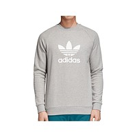 Adidas Men's Trefoil Warm-Up Crew Sweatshirt Gray White