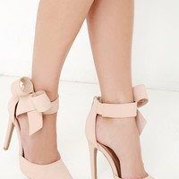 Precision is Key Nude Bow Heels