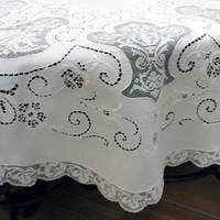 """Vintage Italian Linen Lace Embroidered Tablecloth Round 45"""" Price Reduced"""