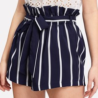 Striped Belted Paperbag Waist Shorts