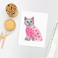 Watercolor Cat, Cat Painting, Cat Art Print, Cat Illustration, Baby Girl Nursery, Cat Nursery Art, Cute Cat, Cat Lover Gift, Pajama Cat