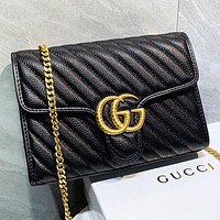 GUCCI New fashion leather chain shopping leisure shoulder bag crossbody bag Black