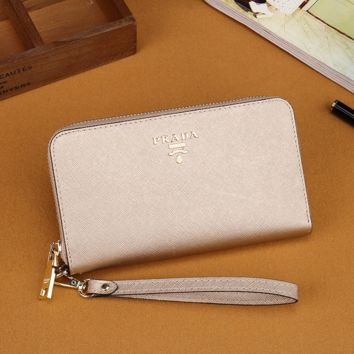 Prada Women Leather Zipper Wallet Purse- Beige