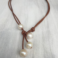 4 way freshwater pearl necklace, leather pearl necklace, pearl jewelry, leather necklace, pearls on leather, pearl and leather