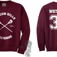 Beacon Hills Lacrosse CR Whittemore 37 Jackson Whittemore printed on Maroon Crewneck Sweatshirt
