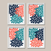 Coral Teal Navy Wall Art Canvas Artwork Flower Petals Dahlia Bloom Burst Set of 4 Prints Bedroom Decor Floral