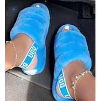 UGG Hight Quality Women Fashion Fur Flats Sandals Slipper Shoes For Autumn Winter