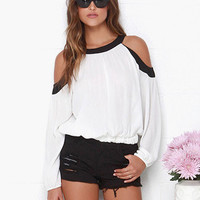 White Off Shoulder Long Cuff Sleeve Top