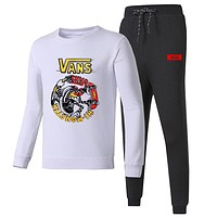VANS 2018 autumn and winter new embroidery round neck sports pants casual sportswear two-piece white