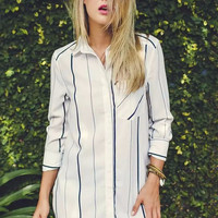 Striped Lapel Blouse with Chest Pocket