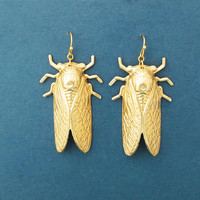 Gold, Cicada, Earrings, Modern, Unique, Cicada, Necklace, Birthday, Best friends, Sister, Gift, Jewelry
