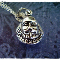 Silver Shakespeare Necklace - Sterling Silver Shakespeare Bust Charm on a Delicate Sterling Silver Cable Chain or Charm Only
