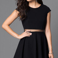 Black Cap Sleeve Dress with Sheer Waist