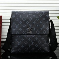 Louis Vuitton LV Men Leather Office Bag Crossbody Satchel Shoulder Bag