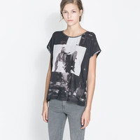 PRINTED T - SHIRT WITH FAUX LEATHER PIPING - Woman - New this week | ZARA United States