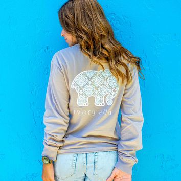 Classic Fit Taupe Ikat Tee