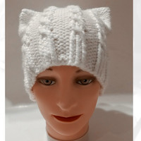 PussyHat, Pussy Hat, White PussyHat, PussyHat Project, Pink PussyHat, Cat Hat, White Pussy Hat, White Cat Hat, White Winter Hat, Knitted Hat