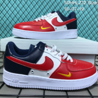 KUYOU N018 Nike Air Force 1 Mid Three-Color Stitching Small Hook Causal Skate Shoes Red White Black