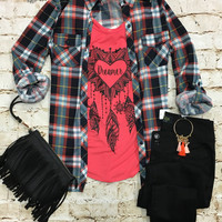 Penny Plaid Flannel Top: Coral/White
