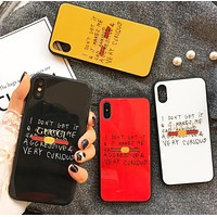 Gucci Stylish Cute Graffiti Print iPhone 6 plus iPhone7 Personality Glass Protective iPhone Soft Shell Couple Phone Case