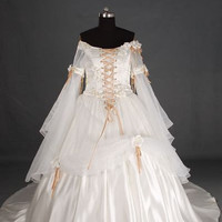 A-line Card Shoulder Long Sleeve Cathedral Train Satin Organza Wedding Dress With Hand-Made Flowers Applique  Beading Free Shipping