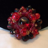"""Germany Vintage Red Art Glass Bead Flower Brooch & Rhinestone Layered Gold Plate Pin 2"""""""