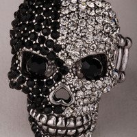 Skull stretch ring for women girls halloween costume gothic jewelry biker charm W/ crystal 2 tone face