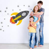 Rocket  space ship in grey and yellow, childrens personalized wall decal, decal, wall sticker, wall graphic , vinyl decal, graphic image