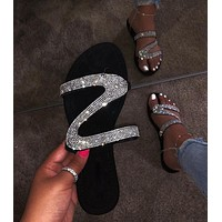 Fashion hot selling women's rhinestone sandals slippers