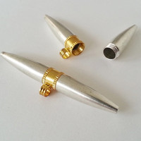 TYPE NO 27 - 1 bullet shaped  stash compartment boxes Pendant in white metal
