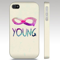iPhone case, iPhone 4s case, iPhone 4 case, forever young, infinity hipster, typography art for your phone