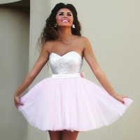 2016 New Pink Short Prom Dresses Sweetheart Top Sequins Tulle Light Pink Cocktail Dresses Back Bow Elegant Party dresses