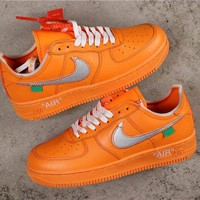 OFF White x Nike Air Force 1 AF1 Low Orange With Silver Logo Sneakers