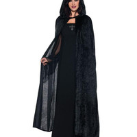 Hooded Cloak Black 55 Inches