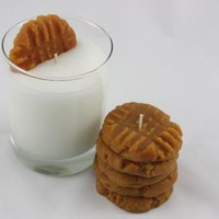 Peanut Butter Cookies and Milk Candle Set, Fake Wax Food, Holiday Candles