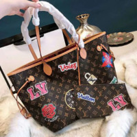 Louis Vuitton LV Fashionable Women Monogram Leather Handbag Tote Shoulder Bag Wrist Bag Set Two Piece