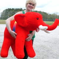 American Made Large Stuffed Red Elephant 36 Inches Big Plush Animal Made in the USA America - Big Plush Personalized Giant Teddy Bears and Custom Large Stuffed Animals