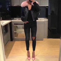 """""""Givenchy"""" Women Simple Fashion Fur Collar Long Sleeve Zip Cardigan PU Leather Clothes Cotton-padded Jacket Coat"""